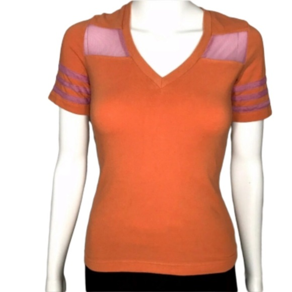 The People Have Spoken Tops - The People Have Spoken Orange Fishnet Shirt Small